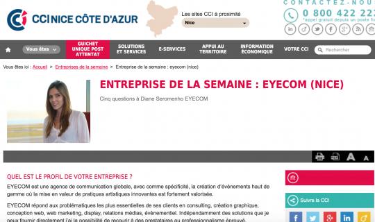 EYECOM, entreprise de la semaine - Interview CCI