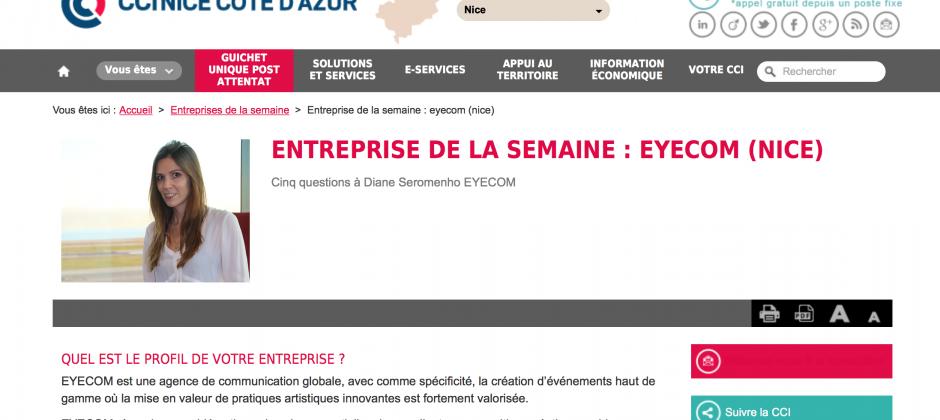 EYECOM, entreprise de la semaine – Interview CCI